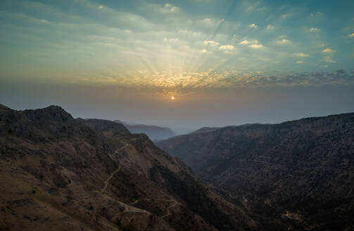 Aerial view of sunset in the rocky mountains, Lebanon - AAEF02834