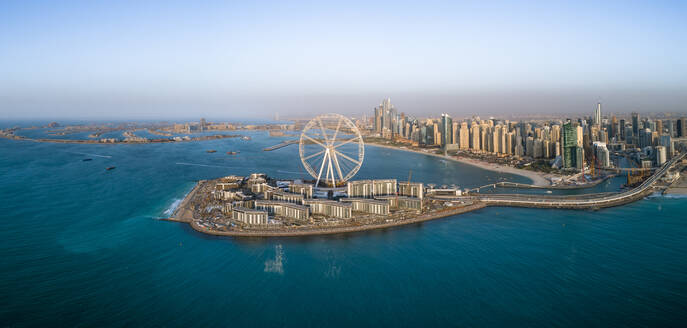 Panoramic aerial view of the Ferris wheel on Bluewaters island in Dubai, UAE - AAEF02882