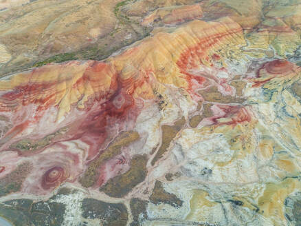 Aerial view above of Painted Hills rock formation, Oregon, U.S.A. - AAEF02927