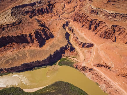 Aerial view of colorado river and canyons in Utah, USA - AAEF03017