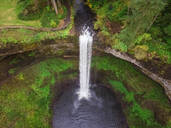Aerial view of a waterfall in Silver falls state Park in Oregon, USA - AAEF03047