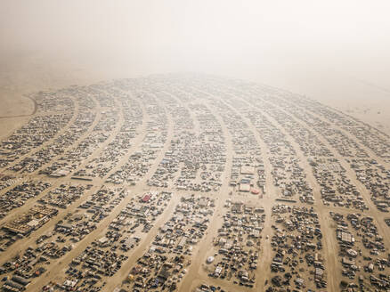 NEVADA, USA - 31 August 2017 : Aerial view of Burning man festival in Pershing, Nevada county, USA. - AAEF03122