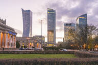Modern towers in the downtown district, Warsaw, Poland, Europe - RHPLF00566