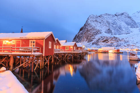 The Rorbu, the Norwegian red houses built on stilts in the bay of Reine in the Lofoten Islands, Arctic, Norway, Scandinavia, Europe - RHPLF00979