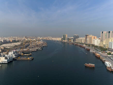 Aerial view of boats in Dubai canal in United Arab Emirates - AAEF03335