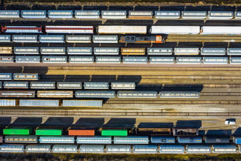 Aerial view of rail cars waiting at a staging railyard station in Aurora, IL - USA - AAEF03407