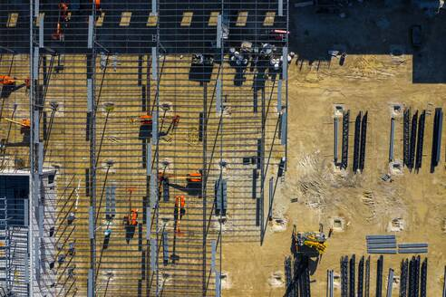 Aerial view of a construction site of a manufacturing facility in early morning light in Lisle, IL, USA - AAEF03458