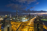 The Burj Khalifa Dubai, elevated view across Sheikh Zayed Road and Financial Centre Road Interchange, Downtown Dubai, Dubai, United Arab Emirates, Middle East - RHPLF01088