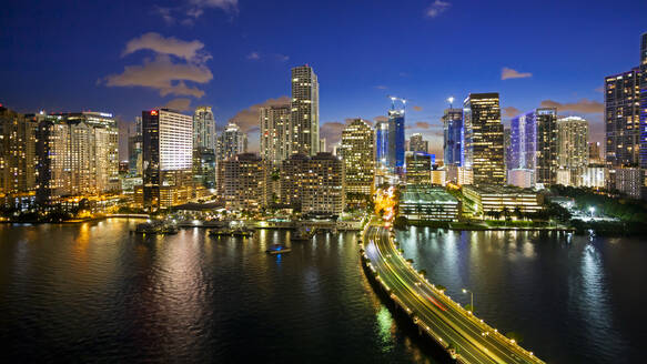 View from Brickell Key, a small island covered in apartment towers, towards the Miami skyline, Miami, Florida, United States of America, North America - RHPLF01094