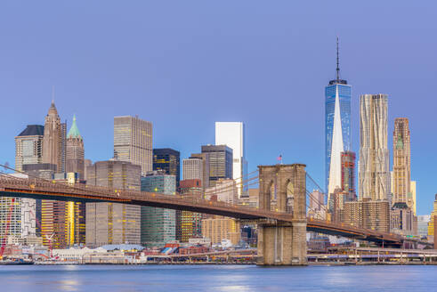 Manhattan skyline and Brooklyn Bridge across East River, New York, United States of America, North America - RHPLF01322