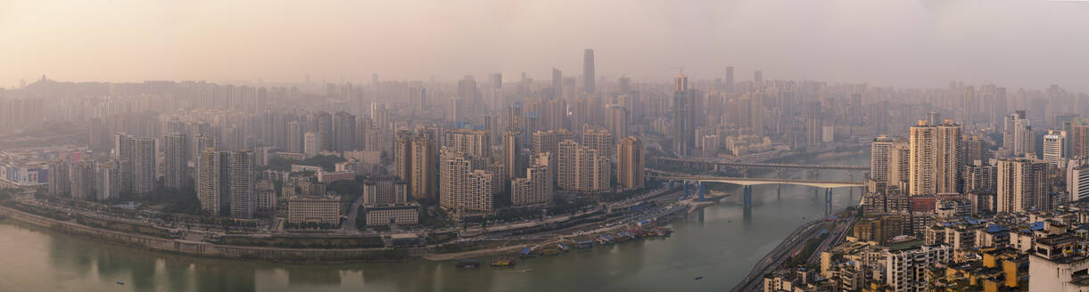Chongqing city skyline panorama, with Jialing River, Jiangbei CBD in the view, Chongqing, China, Asia - RHPLF01721