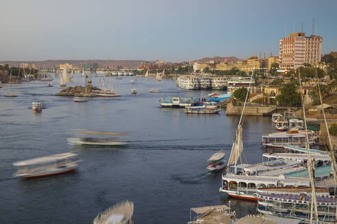View of Aswan and River Nile, Aswan, Upper Egypt, Egypt, North Africa, Africa - RHPLF01995