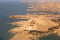 Aerial view of Abu Simbel, UNESCO World Heritage Site, and Lake Nasser, Egypt, North Africa, Africa - RHPLF02001