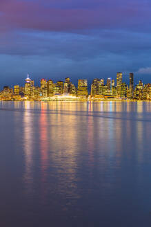 View of Vancouver Downtown from North Vancouver at dusk, Vancouver, British Columbia, Canada, North America - RHPLF02166