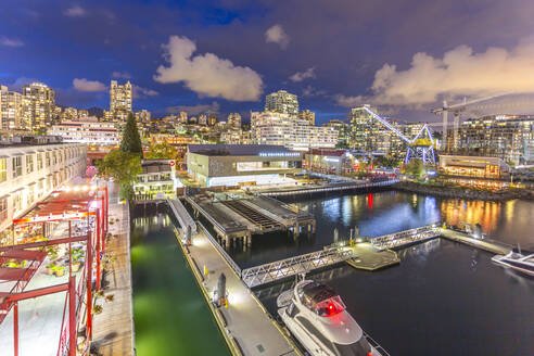 View of Lonsdale Quay in North Vancouver at dusk, Vancouver, British Columbia, Canada, North America - RHPLF02169