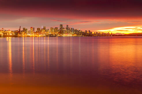 View of Vancouver Skyline from North Vancouver at sunset, British Columbia, Canada, North America - RHPLF02187