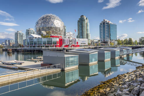 View of False Creek and Vancouver skyline, including World of Science Dome, Vancouver, British Columbia, Canada, North America - RHPLF02190