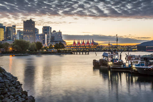 View of Canada Place and urban office buildings at sunset from CRAB Park, Vancouver, British Columbia, Canada, North America - RHPLF02205