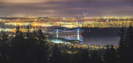 Vancouver city skyline panoramic view at night, Vancouver, British Columbia, Canada, North America - RHPLF02340