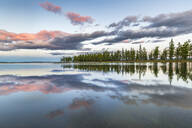 Fir trees and clouds reflecting on the suface of Hovsgol Lake at sunset, Hovsgol province, Mongolia, Central Asia, Asia - RHPLF02766