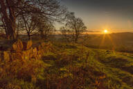 View of sunset from Baslow Edge, Baslow, Peak District National Park, Derbyshire, England, United Kingdom, Europe - RHPLF02844