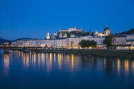View of Salzach River, Hohensalzburg Castle and the Altstadt (The Old City), UNESCO World Heritage Site, Salzburg, Austria, Europe - RHPLF02862