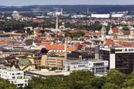 Aerial view of Augsburg cityscape during sunny day, Germany - FCF01800