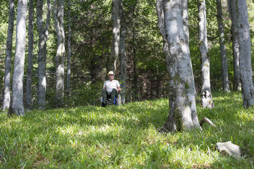 Man in wheelchair in the forest - DRF01747