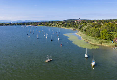 Aerial view of boats in Ammersee lake at Upper Bavaria, Germany - SIEF08891