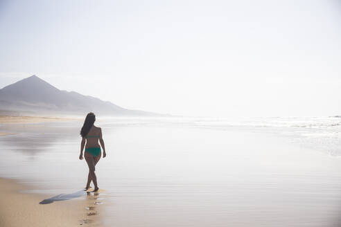 Back view of woman strolling on the beach at low tide, Fuerteventura, Spain - ABZF02525