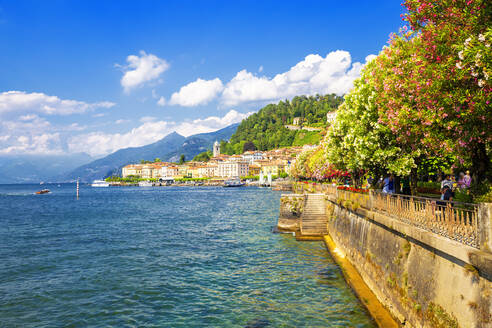 The lake side of Bellagio, Province of Como, Lake Como, Italian Lakes, Lombardy, Italy, Europe - RHPLF03559