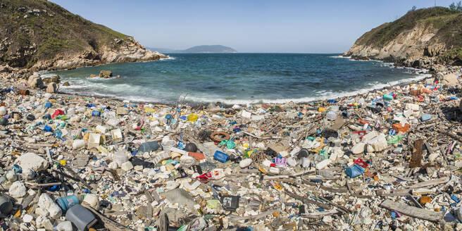 Beach covered in plastic rubbish, Lap Sap Wan, New Territories, Hong Kong, China, Asia - RHPLF03589