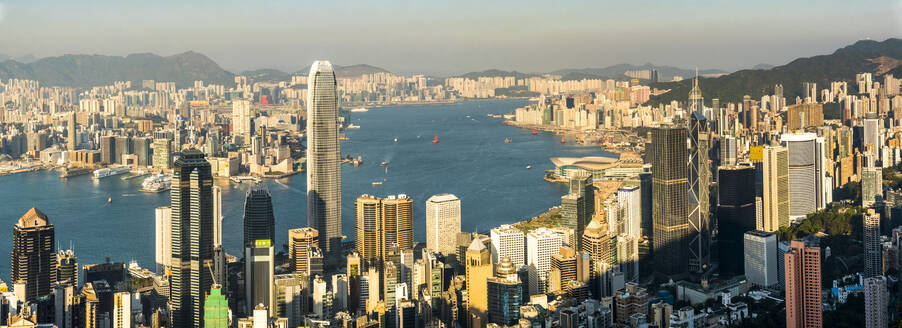 View over Victoria Harbour at sunset, seen from Victoria Peak, Hong Kong Island, Hong Kong, China, Asia - RHPLF03598