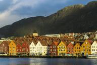 Hanseatic wooden waterfront commercial buildings of the Bryggen (the dock), UNESCO World Heritage Site, Bergen, Hordaland, Norway, Scandinavia, Europe - RHPLF04362