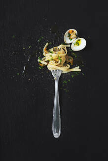 High angle view of clams and noodles in fork on black background - MAUF02766