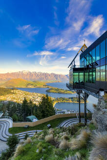 Skyline viewing gallery and luge tracks against sky in Queenstown, South Island, New Zealand - SMAF01370