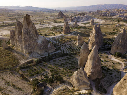 Aerial view of Dove complex monastery at Goreme, Cappadocia, Turkey - KNTF03195