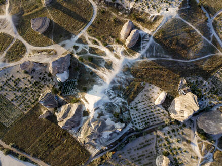 Drone view of Dove complex monastery at Goreme, Cappadocia, Turkey - KNTF03201