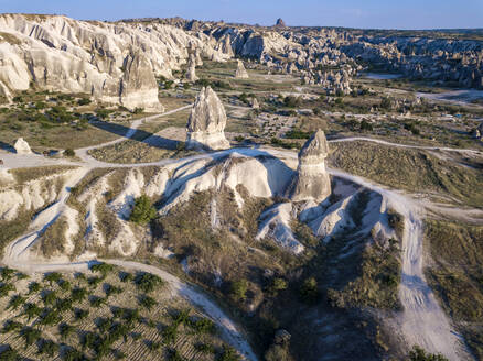 Drone view of Dove complex monastery at Goreme National Park, Cappadocia, Turkey - KNTF03204