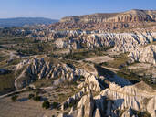 Aerial view of Red valley against blue sky at Goreme, Cappadocia, Turkey - KNTF03225