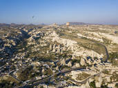 Aerial view of landscape against clear blue sky at Goreme, Cappadocia, Turkey - KNTF03243