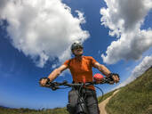 Senior man on mountainbike - LAF02354