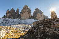 Scenic view of Tre Cime di Lavaredo against clear sky on sunny day, Italy - WPEF01823