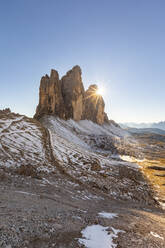 Scenic view of Tre Cime di Lavaredo against clear sky during winter, Italy - WPEF01826