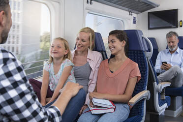 Carefree family traveling in a train - FKF03607
