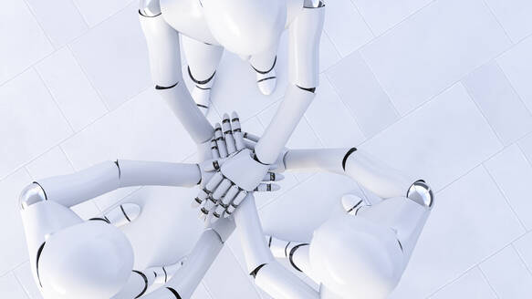 Rendering of three robots stacking hands - AHUF00580