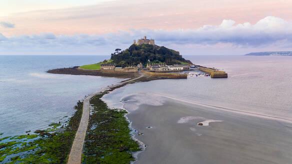 St. Michaels Mount, Marazion, Cornwall, England, United Kingdom, Europe (Drone) - RHPLF04632