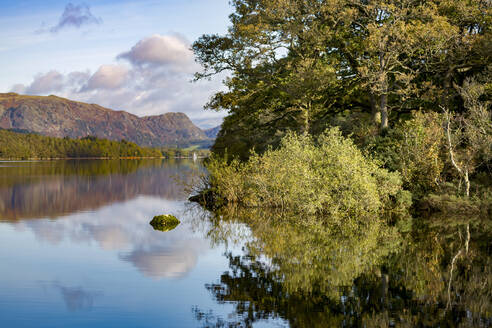 Shoreline, mountains and sky with a perfect reflection in the still waters of Coniston Water, Lake District National Park, UNESCO World Heritage Site, Cumbria, England, United Kingdom, Europe - RHPLF04743