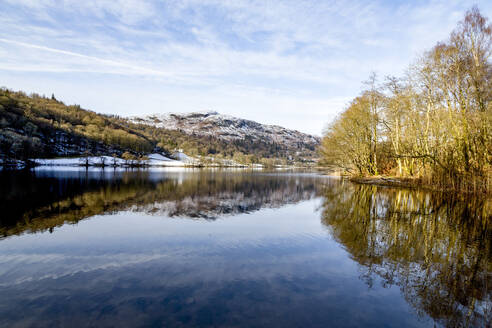 A perfect reflection of snow covered mountains and sky in the still waters of Grasmere, Lake District National Park, UNESCO World Heritage Site, Cumbria, England, United Kingdom, Europe - RHPLF04749
