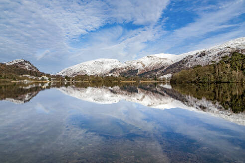A perfect reflection of snow covered mountains and dramatic sky in the still waters of Grasmere, Lake District National Park, UNESCO World Heritage Site, Cumbria, England, United Kingdom, Europe - RHPLF04752
